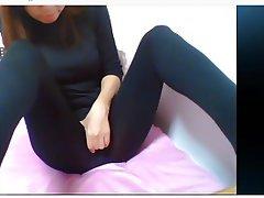 Webcam, Asian, Masturbation, Stockings