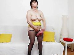 Brunette, Granny, Masturbation, Stockings