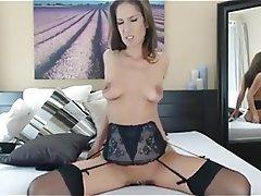 Brunette, Masturbation, Stockings, Webcam